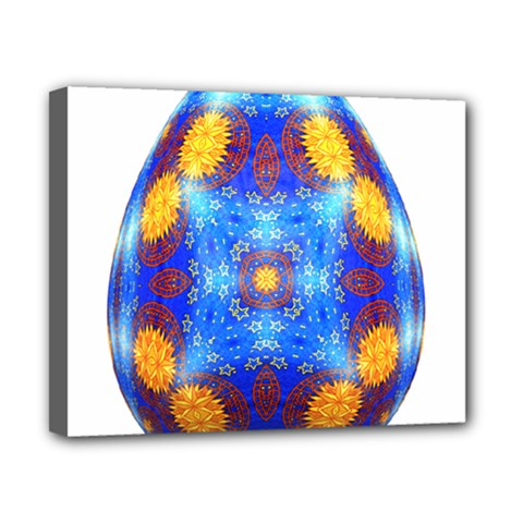 Easter Eggs Egg Blue Yellow Canvas 10  X 8