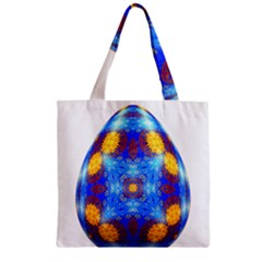 Easter Eggs Egg Blue Yellow Zipper Grocery Tote Bag