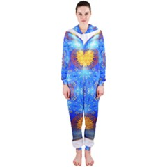 Easter Eggs Egg Blue Yellow Hooded Jumpsuit (ladies)