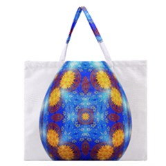 Easter Eggs Egg Blue Yellow Zipper Large Tote Bag