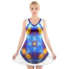 Easter Eggs Egg Blue Yellow V Neck Sleeveless Skater Dress