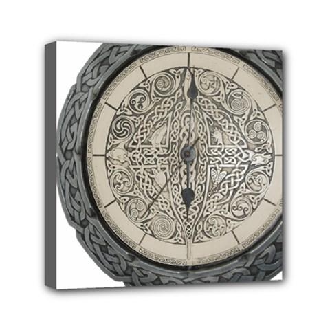 Clock Celtic Knot Time Celtic Knot Mini Canvas 6  X 6