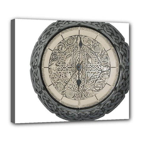 Clock Celtic Knot Time Celtic Knot Deluxe Canvas 24  x 20