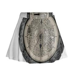 Clock Celtic Knot Time Celtic Knot Mini Flare Skirt