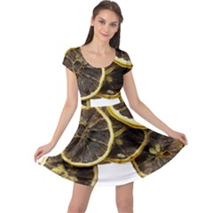 Lemon Dried Fruit Orange Isolated Cap Sleeve Dresses