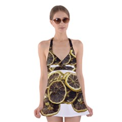 Lemon Dried Fruit Orange Isolated Halter Swimsuit Dress