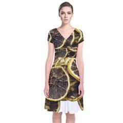 Lemon Dried Fruit Orange Isolated Short Sleeve Front Wrap Dress