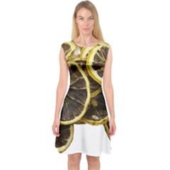 Lemon Dried Fruit Orange Isolated Capsleeve Midi Dress