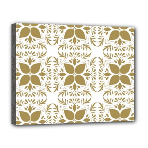 Pattern Gold Floral Texture Design Canvas 14  x 11