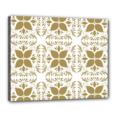 Pattern Gold Floral Texture Design Canvas 20  X 16