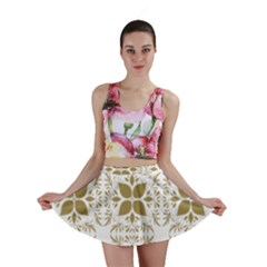 Pattern Gold Floral Texture Design Mini Skirt