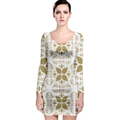 Pattern Gold Floral Texture Design Long Sleeve Bodycon Dress