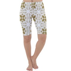 Pattern Gold Floral Texture Design Cropped Leggings