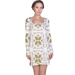 Pattern Gold Floral Texture Design Long Sleeve Nightdress
