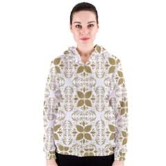 Pattern Gold Floral Texture Design Women s Zipper Hoodie