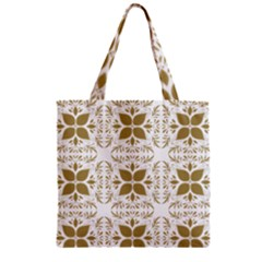 Pattern Gold Floral Texture Design Zipper Grocery Tote Bag