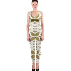 Pattern Gold Floral Texture Design OnePiece Catsuit