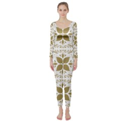 Pattern Gold Floral Texture Design Long Sleeve Catsuit
