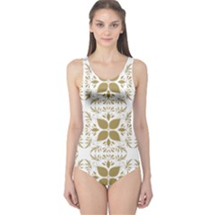 Pattern Gold Floral Texture Design One Piece Swimsuit