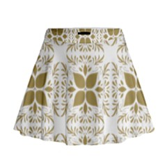 Pattern Gold Floral Texture Design Mini Flare Skirt