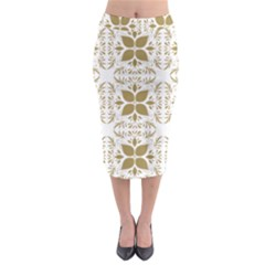 Pattern Gold Floral Texture Design Midi Pencil Skirt