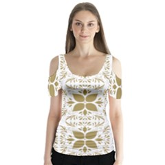 Pattern Gold Floral Texture Design Butterfly Sleeve Cutout Tee