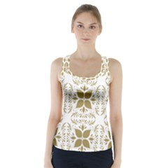 Pattern Gold Floral Texture Design Racer Back Sports Top