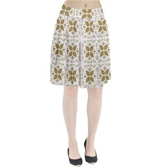 Pattern Gold Floral Texture Design Pleated Skirt