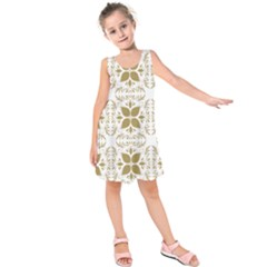 Pattern Gold Floral Texture Design Kids  Sleeveless Dress