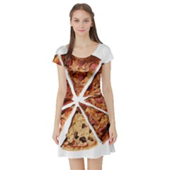 Food Fast Pizza Fast Food Short Sleeve Skater Dress