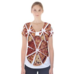 Food Fast Pizza Fast Food Short Sleeve Front Detail Top