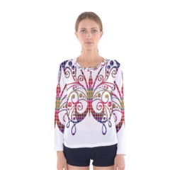 Butterfly Nature Abstract Beautiful Women s Long Sleeve Tee