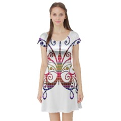 Butterfly Nature Abstract Beautiful Short Sleeve Skater Dress