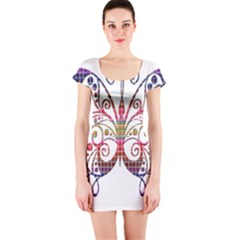 Butterfly Nature Abstract Beautiful Short Sleeve Bodycon Dress