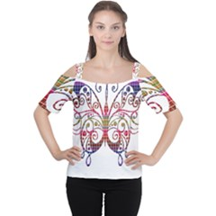 Butterfly Nature Abstract Beautiful Women s Cutout Shoulder Tee