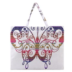 Butterfly Nature Abstract Beautiful Zipper Large Tote Bag