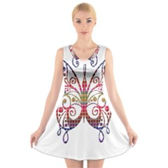 Butterfly Nature Abstract Beautiful V Neck Sleeveless Skater Dress