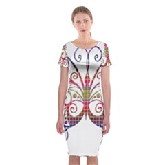 Butterfly Nature Abstract Beautiful Classic Short Sleeve Midi Dress