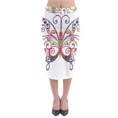 Butterfly Nature Abstract Beautiful Midi Pencil Skirt