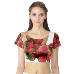 Strawberries Fruit Food Delicious Short Sleeve Crop Top (tight Fit)