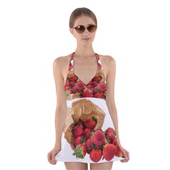 Strawberries Fruit Food Delicious Halter Swimsuit Dress