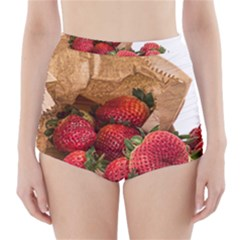 Strawberries Fruit Food Delicious High Waisted Bikini Bottoms