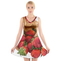 Strawberries Fruit Food Delicious V Neck Sleeveless Skater Dress