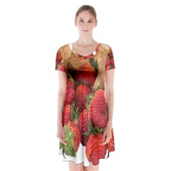 Strawberries Fruit Food Delicious Short Sleeve V Neck Flare Dress