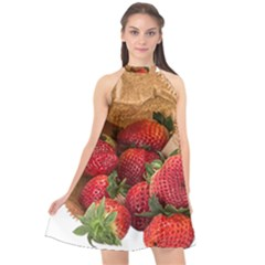 Strawberries Fruit Food Delicious Halter Neckline Chiffon Dress