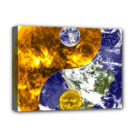 Design Yin Yang Balance Sun Earth Deluxe Canvas 16  X 12