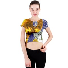 Design Yin Yang Balance Sun Earth Crew Neck Crop Top