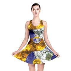 Design Yin Yang Balance Sun Earth Reversible Skater Dress