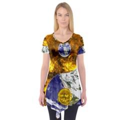 Design Yin Yang Balance Sun Earth Short Sleeve Tunic