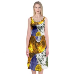 Design Yin Yang Balance Sun Earth Midi Sleeveless Dress
